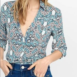 Express Portofino Slim Fit Shirt Career Blue Small
